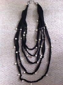 Black Chiffon/Pearl Multistrand Necklace