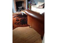 Laura Ashley 2 seater brown leather sofa