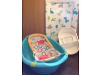 For sale Fisher Price Baby Bath with top and tail bowl and dinosaur changing mat bundle