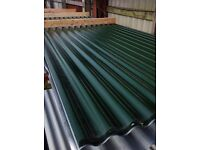 Green corrugated metal roofing sheets
