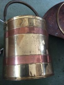 Brass and copper fire bucket