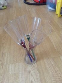 Glass Champagne flutes in Glass Vase