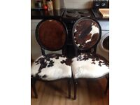 Cowhide dinning / occasional chairs pair off