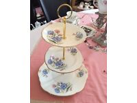 Duchess Pink/Blue Floral Bone China 3 Tier Cake Stand
