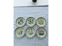 6 x Portmeirion Botanic Garden Teaplates
