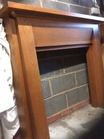 Solid beach wood fire surround