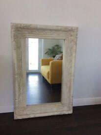 Cream Distressed Wooden Mirror