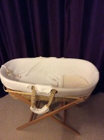 REDUCED!!Hug Me Bear Moses Basket and Eco-baby stand