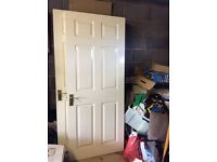 internal white 6 panel doors and 2 matching French patio doors