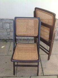 Folding woven cane seat and back dining chairs