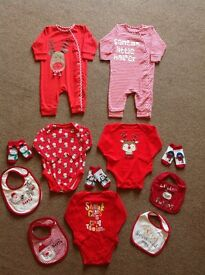 CHRISTMAS BABY CLOTHES AGE 6-9 MONTHS