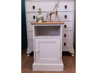 Solid pine shabby chic bedside table in Old White