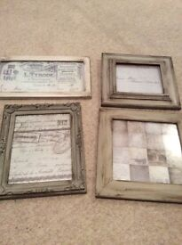 Four French style shabby chic aged grey photo frames