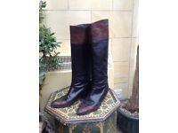 Ladies leather vintage boots size 36.5 by Maud Frizon, Paris