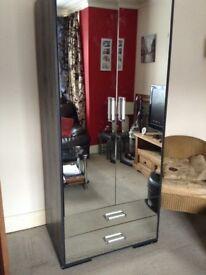 2 door mirrored wardrobe with 2 mirror bottom draws