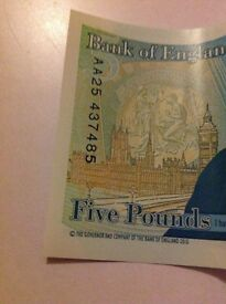 **extremely rare** AA £5 note