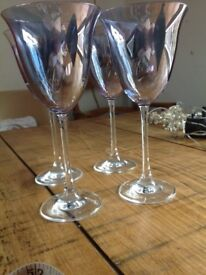11 WINE GLASSES. BLUE TINT. ALL IN EXCELLENT CONDITION