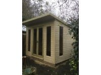 Summerhouse / garden studio. Brand new, high quality - 10x8, tanalised 19mm wood, toughened glass