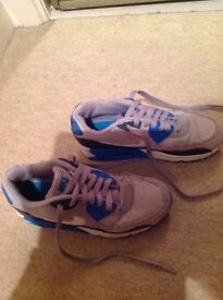 Nike Air Max Trainers, grey, blue & white size 3.5