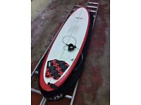 "7' 6"" Round Tail Mini-Mal surfboard with leash, tail pad and 10mm bag"