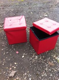 Pair of storage cube shaped stools/foot stools