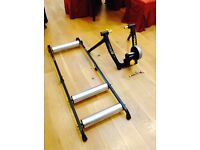 Cycleops SuperMagnito Pro Turbo Trainer & Cycleops Aluminium Rollers (Used very little)