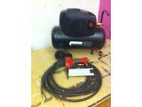 sip airmate 24l compressor, hose and nailgun