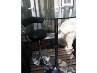 Glass bar table and 2 bar stools