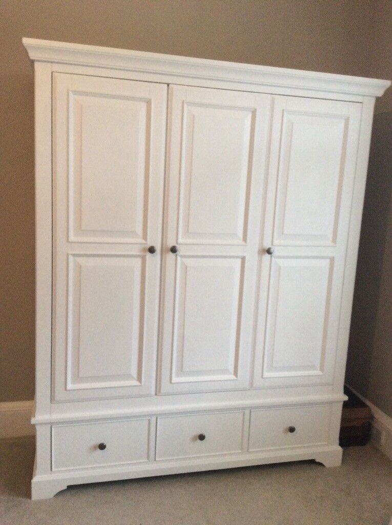 White Painted Oak Triple Wardrobe With Drawers In