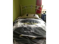 SIngle football white bed frame in excellent condition