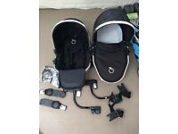 iCandy peach blossom carry cot, converter seat, travel bag and car seat adapter, almost new