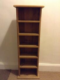 WAXED ANTIQUE PINE SMALL BOOKSHELF / case/CD STORAGE