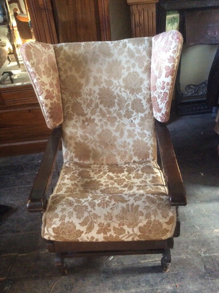 Parker Knoll Wingback Rocking Chairs and Small Mahogany chest of drawers.