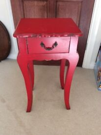 Red shabby chic side unit