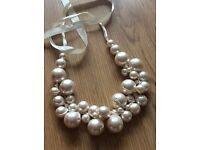 Ivory pearl necklace and earrings