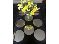 Mirrors; 8x20cm circular mirrors. Suitable for table centrepiece