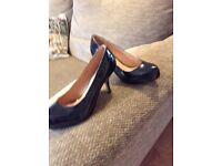 Ladies black patent shoes size 6