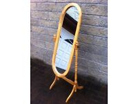 Lovely pine cheval mirror in good condition