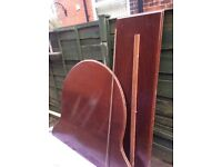 Salvaged grand piano lid and hinge.