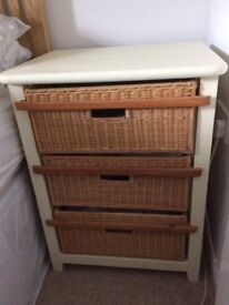 Modern cream painted wooden bedside cabinets