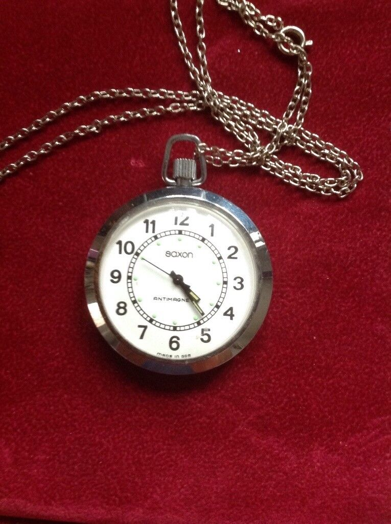 Vintage Saxon Mechanical pocket watch with chain Working vgc