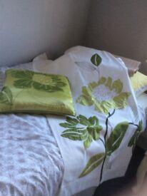 """NEXT Taffeta flower curtains. White,green flower. w53"""", l54"""". Hidden tab top. 1 Cushion"""