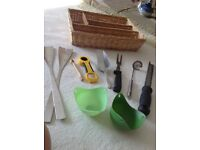 Assortment of kitchen storage and utensils, some new