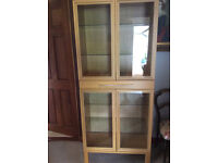TWO OAK AND GLASS DISPLAY CABINETS