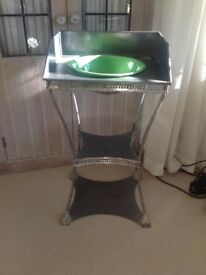 UNUSUAL FRENCH ANTIQUE PIERCED METAL WASH STAND/SIDE TABLE