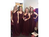 Set of 4 matching burgendy bridesmaid dresses
