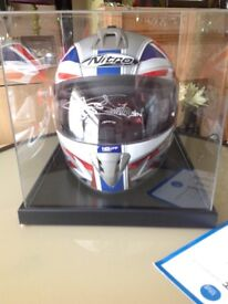 Helmet signed by CARL Fogarty in display case and certificate of authenticity