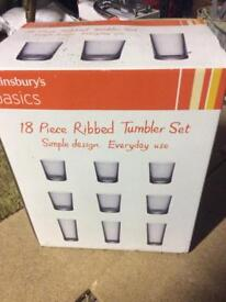 Brand new in box 18 piece tumbler drinking glasses glass set. 3 sizes
