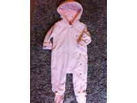 PINK HOODED ALL-IN-ONE SUIT BY TED BAKER 6-9 MONTHS