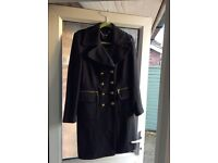 Ladies M&S Autograph military style black coat size 12